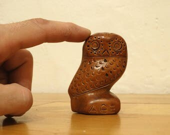 Greek Owl, Ceramic Owl Figurine, Owl Miniature, Owl Statue, Owl Sculpture, Athenas Owl, Ceramic Miniature, Ceramic Figurine, Owl Decor, Owl
