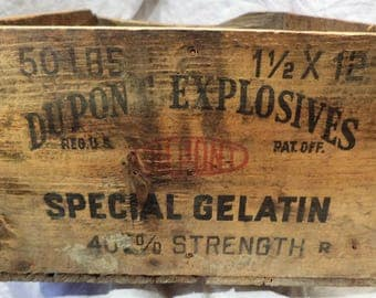 Explosives Box, Antique Box, Old Wood Crate, DuPont Company, Factory Advertising