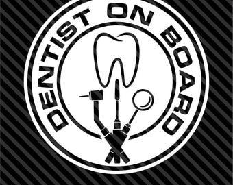 Dentist On Board Vinyl Decal Bumper Sticker Hygienist Dentist Happy Tooth Car Truck SUV