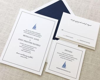 Sailboat Wedding Invitation, Nautical Wedding Invitation, Beach Wedding Invitation, Coastal Wedding Invitations, Preppy Wedding Invitation