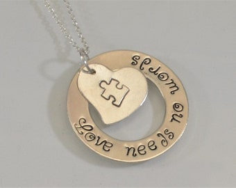 Love Needs No Words Autism Awareness Necklace
