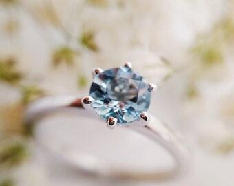 Aquamarine Ring, Aquamarine Engagement Ring, Sterling Silver, Aquamarine, Morganite, Black Onyx, Black Spinel, White Topaz, Blue Topaz