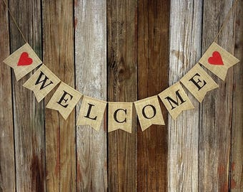 Burlap WELCOME Banner, Welcome Bunting, Burlap Bunting, Rustic Decoration, Photo Prop, Home Decor, Mantel Decoration, Rustic Banner