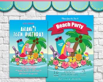 Summer Holiday Invitation 3 - PDF JPG DOC Instant Download Printable Digital File
