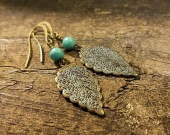 Bronze Earrings, Filigree Earrings, Dangle Earrings