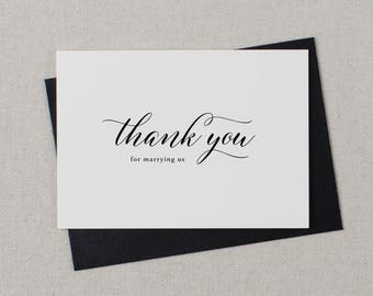 Thank you for Marrying Us - Wedding Card to Officiant, Wedding Day Card, Wedding Cards, Minister, Judge, Pastor, Priest, Thank You Cards, K2