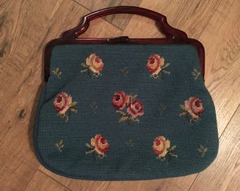 Vintage Needle Point Purse,  floral handbag, lucite handle, tapestry bag with coin purse