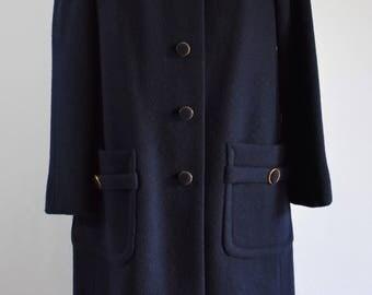 Vintage 60's Navy Wool Overcoat Bullock's Navy Wool Blend Coat Mid Century Modern Topcoat