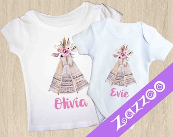 Personalized Onesie or Girls T-shirt, Personalized Bodysuit Romper, Baby shower gift, Customized onesie, Name onesie, Boho Clothing, Teepee