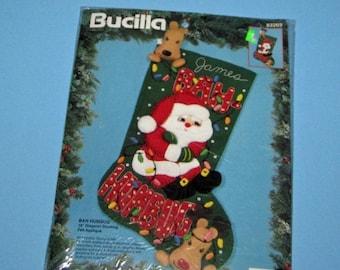 SALE Vintage Bucilla 83203 Bah Humbug 18 inch Stocking Felt Applique
