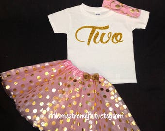 Pink Gold Tutu Set,  Birthday Set, Second Birthday, Pink Birthday Tutu, TWO Birthday Tutu Set,  Second Birthday Tutu Outfit, 2nd bday outfit