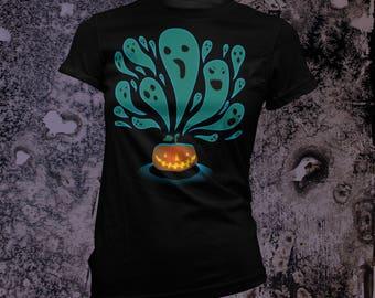 Halloween Ghosts Femme T-Shirt in BLACK or Navy