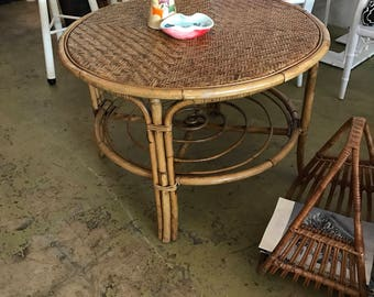 Hollywood Regency Island Rattan Coffee Table Boho Beach