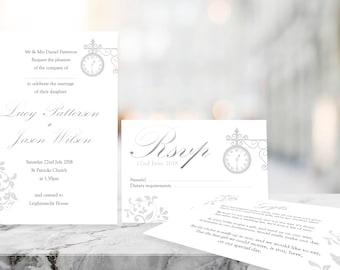 Printable Wedding Invitation - Glistening Time - Vintage Invitation