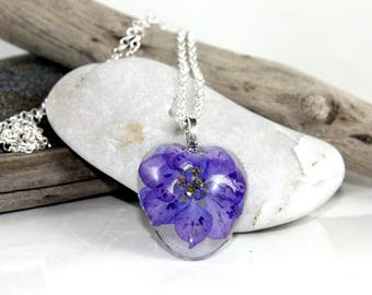 Wild Larkspur Encased in Resin Necklace.  Heart Shaped Woodland Flower Pendant.  Deep Blue Delphinium Nature Jewelry.  Flower Girl Gift