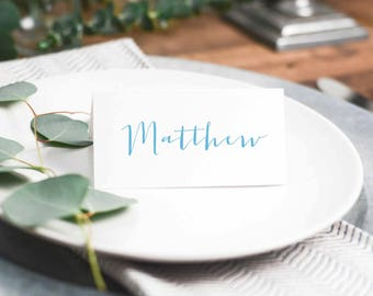 Personalized Printable Place Cards Placecards Name Cards Calligraphy Fun Blue Quirky Customizable