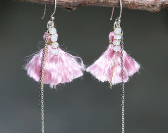 Pink cotton tassel earrings and silver chain,moonstone beads on sterling silver hooks style