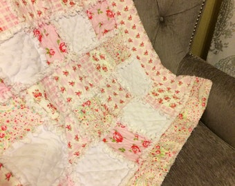 Baby Girl Rag Quilt, Shabby Chic Quilt, Pink & White Quilt Ready to Ship, 32 x 40