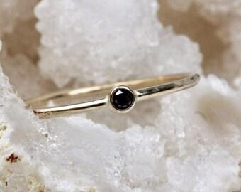 14K Tiny Black Diamond Ring, Stacking Ring, Midi Ring, Bezel Ring, Black Stone Ring, Thin Ring, Minimal Jewelry