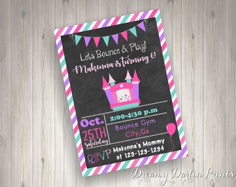 Printable Bounce Castle Birthday Party Invite, 5x7, JPG