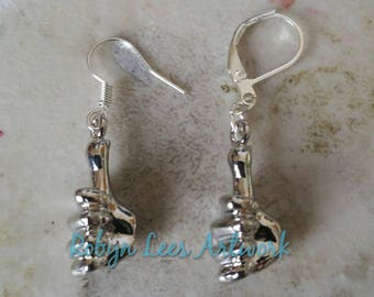 Small 3D Silver Thumbs Up Hand Symbol Sign Gesture Charm Earrings on Silver Earring Hooks or Leverbacks