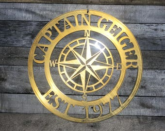 Outdoor Metal Compass, Last Name Sign, Established Sign, Lake House Decor,  Last