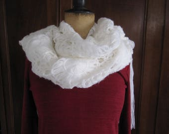Romantic scarf, shawl with fringe, hand crocheted, white