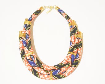 African fabric Necklace, African Necklace, African Print, Handmade Necklace, Ankara Fabric necklace, African fabric necklace