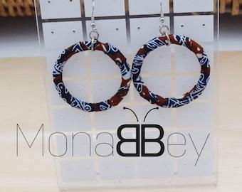 Bijoux wax, boucles d'oreilles en wax africain, african fabric earrings, new year gift, celebration gift, fabric hoop earrings, bijoux wax