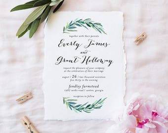 Printable Wedding Invitation Set | Floral Wedding Invitation Suite | Botanical Invitation Set | Invitation, RSVP, Details Card | WI-029