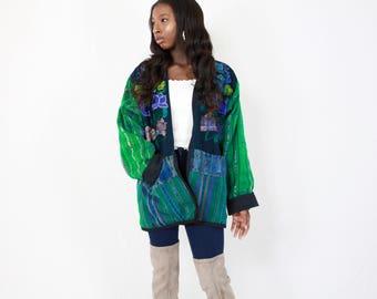 60's Embroidered Ethnic Jacket // Reversible Black, Vintage, sweater, jacket, cardigan, hand made, floral, striped, boho, bohemian