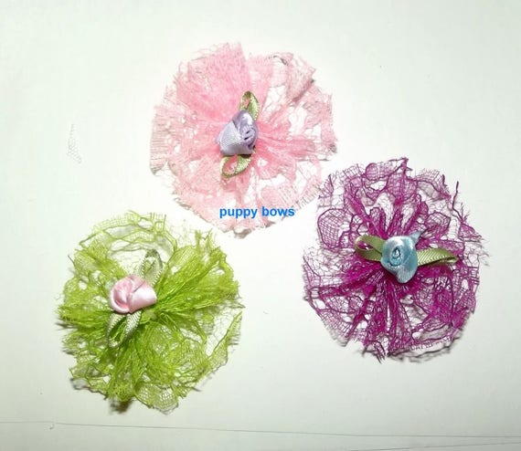 Puppy Dog Bows ~ Shabby chic lace SET OF 3 pinkwheels pet hair bow barrettes or bands (fb73)