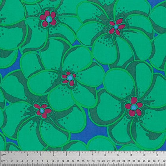 ELEPHANT FLOWER Green bm056 Brandon Mably Kaffe Fassett Collective Sold in 1/2 yd increments