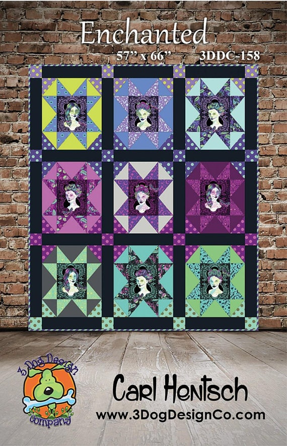 PRE-ORDER ENCHANTED Quilt Kit Tula Pink's De La Luna collection fabrics Pattern by Carl Hentsch