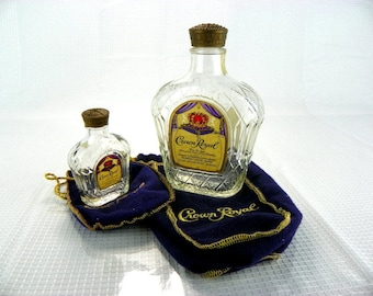 Vintage Set Crown Royal Canadian Whiskey Bottles with Bags
