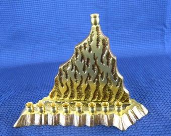 Vintage Hen Holon Brass Menorah Israel Judaica Chanukah Hanukkah Candle Holder