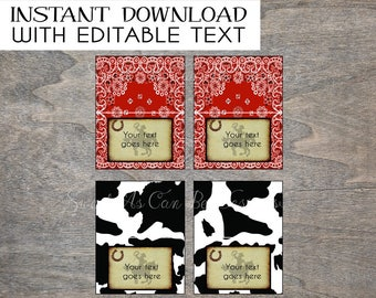 Rodeo Cowboy food tent labels foldable printable and digital file | Cow Print Bandana Horse Western Rustic Birthday Party