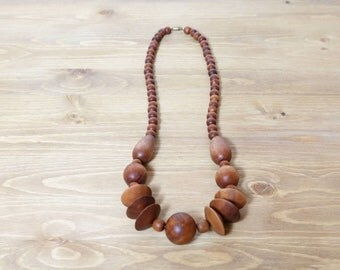 Wood necklace, Vintage wood beaded necklace, Womens accessories, Boho decor, Chunky necklace, Jewelry, Gifts for her