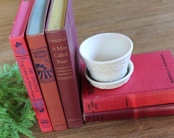 5 Vintage Red Books / Decorative Book Set / Rustic Decor/ Library Decor / Book Lovers Decor / Vintage Book Collection