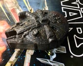 """Soap """" Millennium Falcon Star Wars Ship"""". You Choose your Scent. Handmade 1 pc. Star Wars.  Weight 2,3 Oz. Color Black With Shiny Glitter."""
