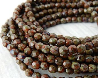 Summer Sale PICASSO UMBER Brown Faceted Round Czech Glass Beads 3mm Qty 50 Firepolished Tiny Brown Beads