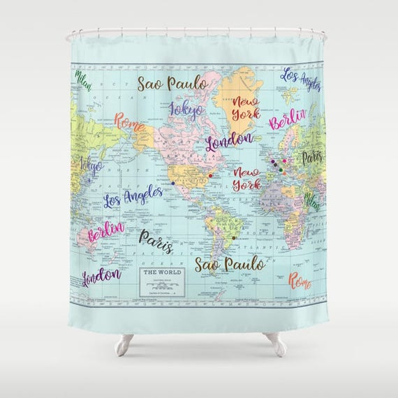 Fashion Capitals Map Shower Curtain Colorful World Map of