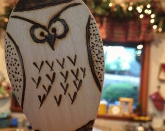 Woodburned Owl Wooden Spoon