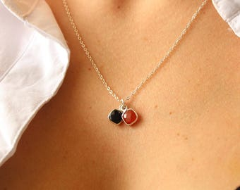 Sterling Silver Necklace with Gemstone Red Chalcedony and Black Onyx・Minimalist Necklace Style
