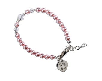 "Sterling Silver ""Big Sis"" Bracelet with Swarovski ELEMENTS Pearls and Big Sis Charm with Gift Box for Big Sister (Big Sis Pink)"