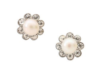 Sterling Silver White Pearl Button Earrings for Girls with Screw Backs (SSE-Pearl Button-White)