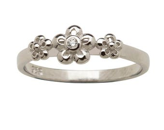 Sterling Silver Baby Ring with Daisy Flowers for Girls (BR-12 Clear)