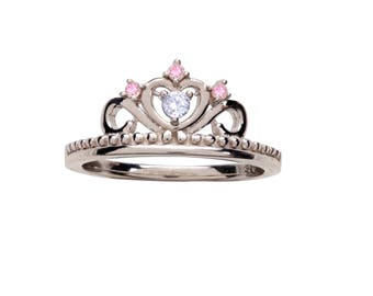 Sterling Silver Tiara Ring with CZs for Girls (BR-72-Tiara)