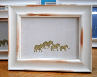 Indian elephants picture frame  vintage style   13 x 18cm