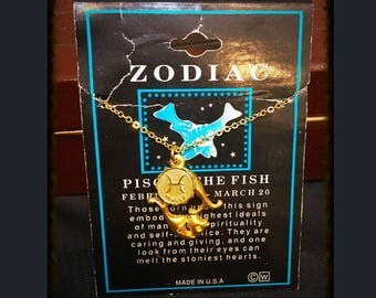 Deadstock 1970's Pisces, The Fish Zodiac Necklace, Vintage Pisces Astrology Necklace, 1970's Pisces Jewelry